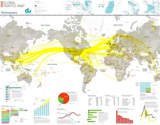Global Internet Traffic Flow Map