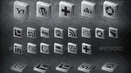 20+ metal 2D & 3D social icons set