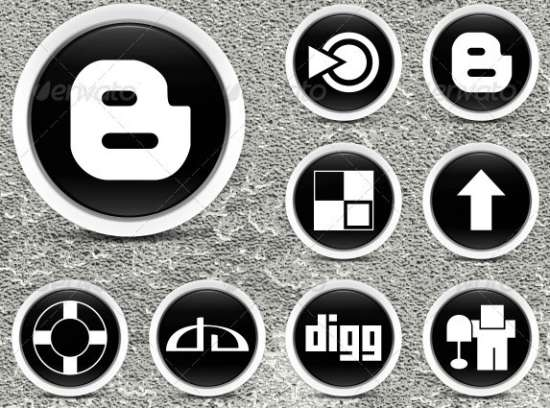 36 Black & White Social Media Icons
