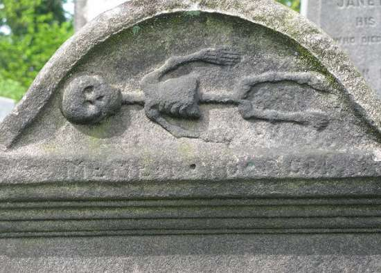 Grave stone with skeleton