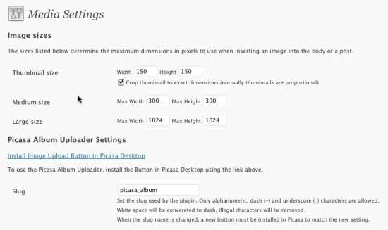 Picasa Album Uploader Settings