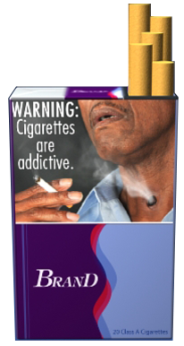 Text: WARNING: Cigarettes are addictive. Image: Man holding a cigarette.  Cigarette smoke comes from stoma (hole) in neck. Pictured on an example cigarette pack.