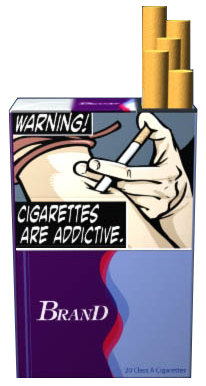 Text: WARNING: Cigarettes are addictive. Image: Cigarette being injected into arm. Pictured on an example cigarette pack.