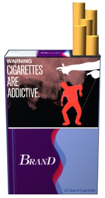 Text: WARNING: Cigarettes are addictive. Image: Man with a cigarette on puppet strings controlled by hands above. Pictured on an example cigarette pack.