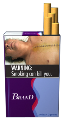 Text: WARNING: Smoking can kill you. Image: Deceased man with surgical staples going down his chest. Pictured on an example cigarette pack.