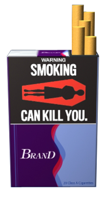 Text: WARNING: Smoking can kill you. Image: Illustration of red casket with icon of deceased person inside. Pictured on an example cigarette pack.