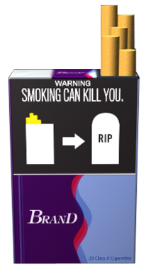 "Text: WARNING: Smoking can kill you. Image: Illustration of icon of a cigarette pack followed by arrow followed by icon of tombstone with text ""RIP."" Pictured on an example cigarette pack."