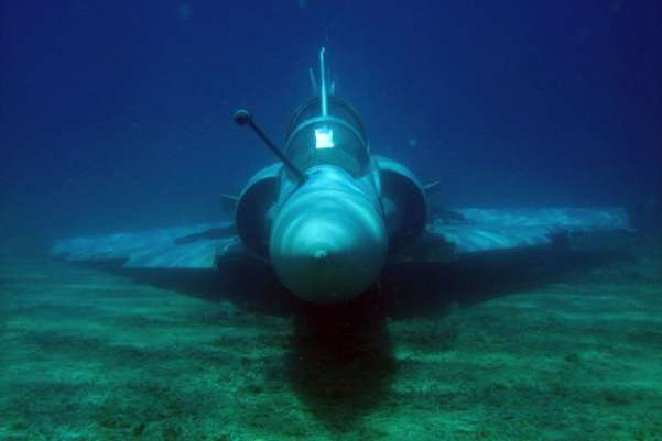 A Greek Air Force Mirage 2000 jet fighter rests on the bottom of the Aegean sea near the Greek island of Samos after it crashed on June 9, 2011. Both pilots ejected before the crash and were rescued unhurt by a military vessel, Greek military officials said. Greek Air Force/Reuters