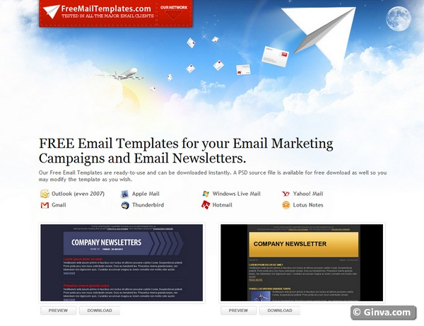 Excellent Websites For Downloading Free HTML Email Newsletter - Free email newsletter templates for gmail