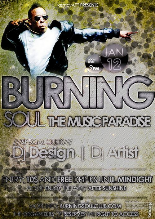 Burning Soul Party Flyer PSD