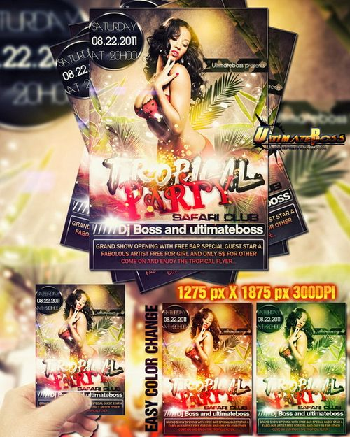 Freemium tropical party flyer