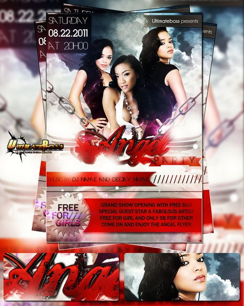 Free PSD Angel Party Flyer Template
