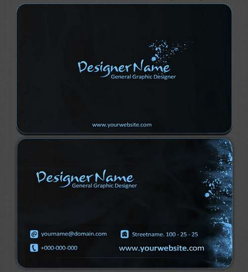 Black business card template accmission