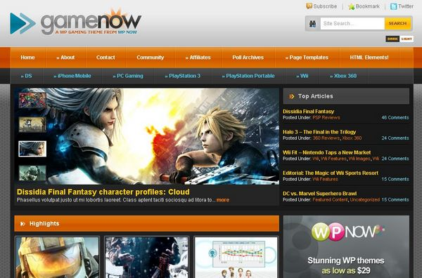 Video Game WordPress Themes