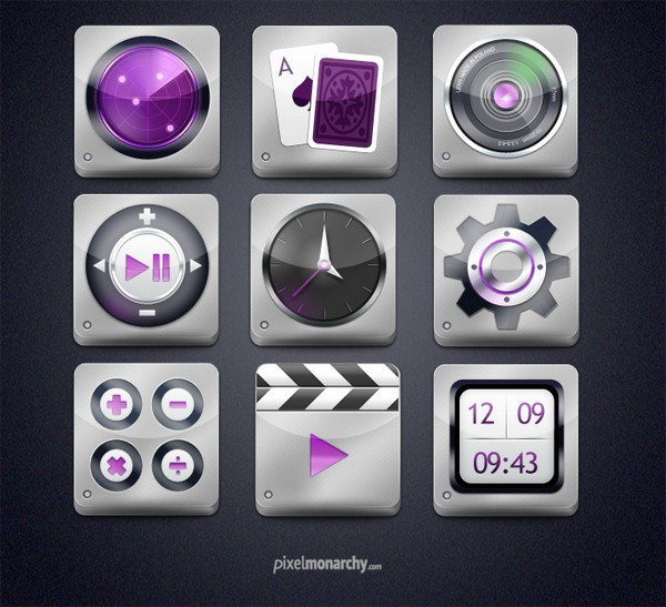 Shine Steel App Style Free Icons Set