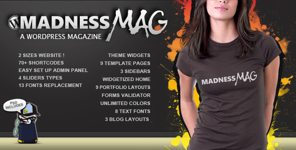 Madness Magazine WordPress - ThemeForest Item for Sale