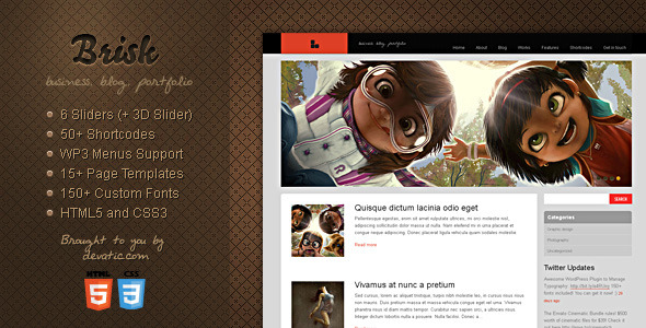 Brisk - Business, Blog & Portfolio WordPress Theme - ThemeForest Item for Sale