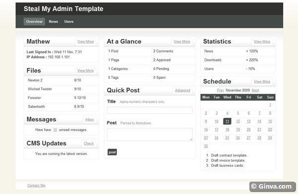 40 free and premium admin htmlcss website templates ginva steal my admin free flashek Choice Image