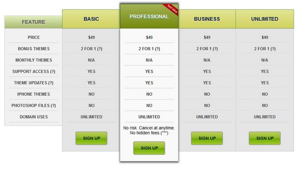 Download 30 free pricing table templates design css3 for Comparison table design