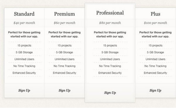 Download  Free Pricing Table Templates Design Css Psd  Wp