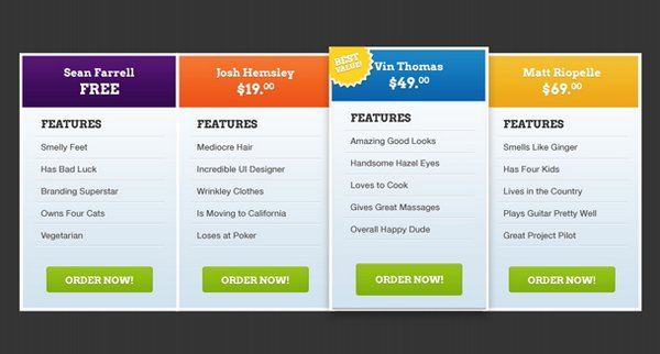 Download 30+ Free Pricing Table Templates Design {CSS3, PSD & WP ...