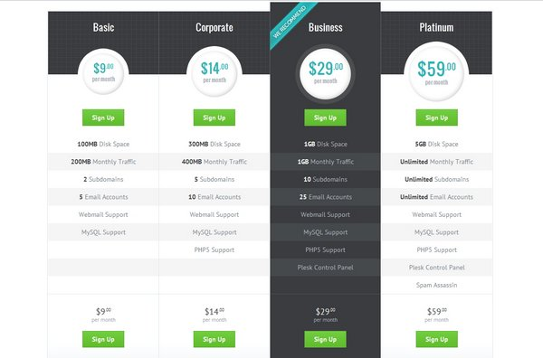 Download 30 free pricing table templates design css3 for Html table css template