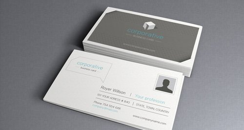 44 free clean and simple white business card template in psd ginva corporate business card wajeb Gallery