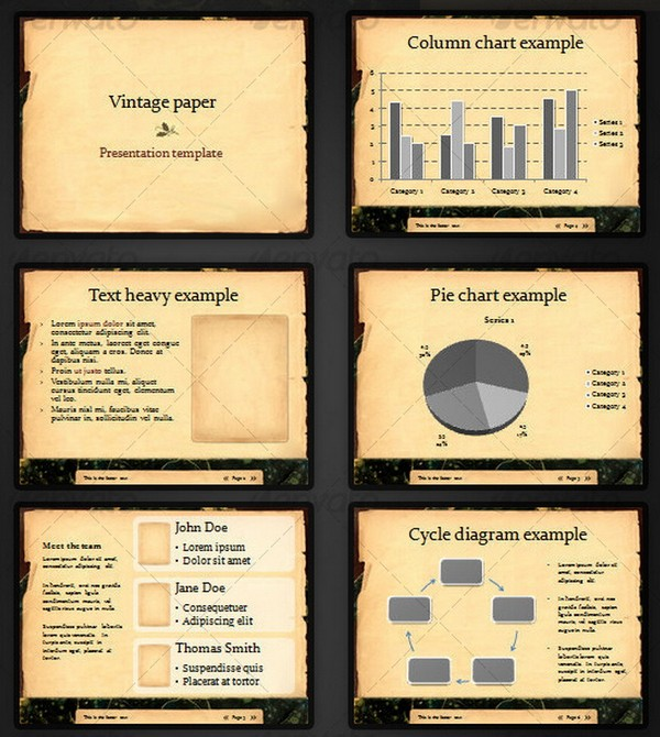 Powerpoint presentation designs vintage