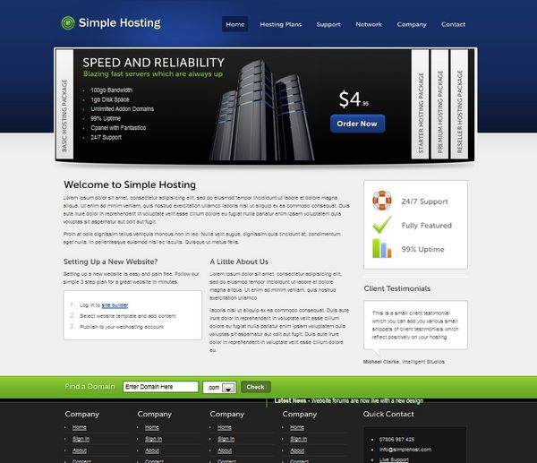 30 best web hosting website templates htmlcss and wordpress ginva simple hosting pronofoot35fo Image collections
