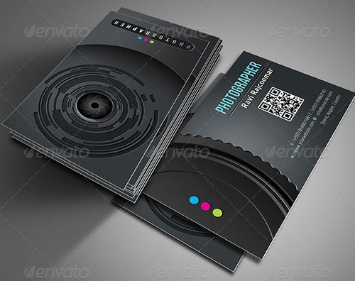 33 cool photographer business cards psd and examples ginva snap filmstrippro photo studio shutter the photographer wedding photography business cards reheart Images