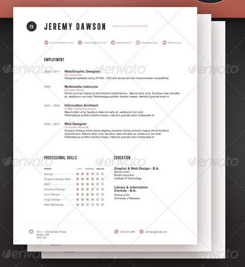 25 Modern and Professional Resume Templates – Professional Document Templates