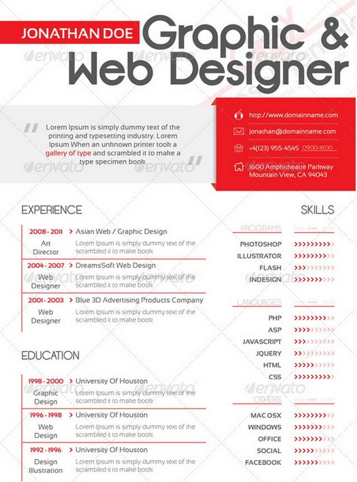 25 modern and professional resume templates ginva - Resume Templates For Graphic Designers