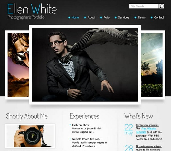 1 photographers portfolio the elegant and stylish layout of this free website template