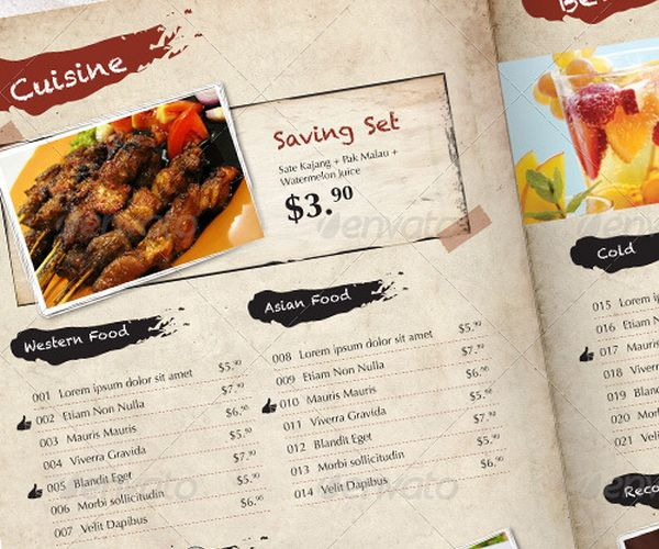 30 Food Menus Templates for Caf and Restaurants – Free Food Menu Template