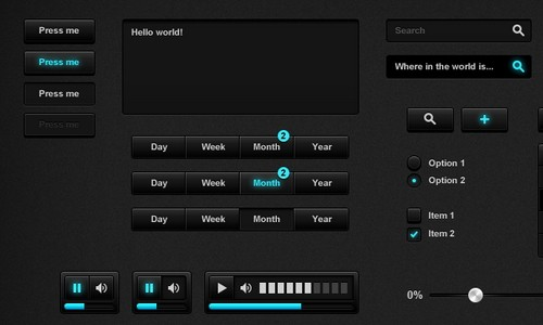 black and dark ui psd 11