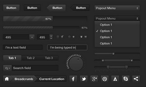 black and dark ui psd 13