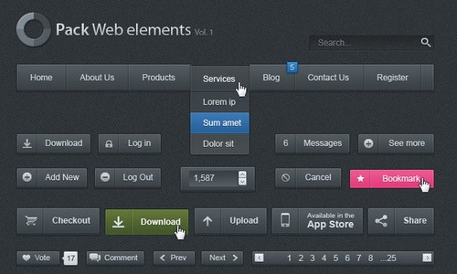 black and dark ui psd 4