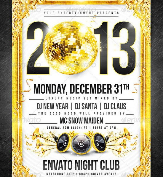 Awesome 2013 New Year Event Flyer Templates | Ginva