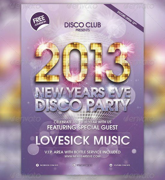 2013 New Year Event Flyer Templates