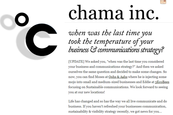 Minimalist Web Design - Chama Inc Business communication strategies