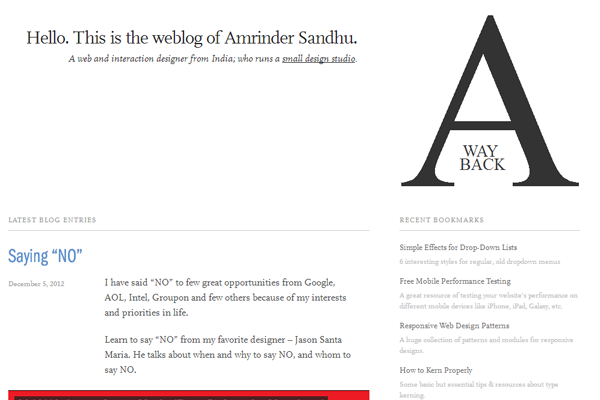 Minimalist Web Design - Amrinder Sandhu blog website layout interface