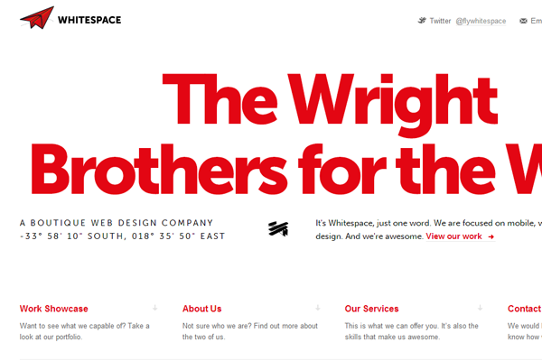 Minimalist Web Design - whitespace design portfolio - Wright Brothers for the web