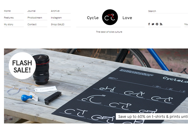 Minimalist Web Design - whitespace white border header bicycle loving