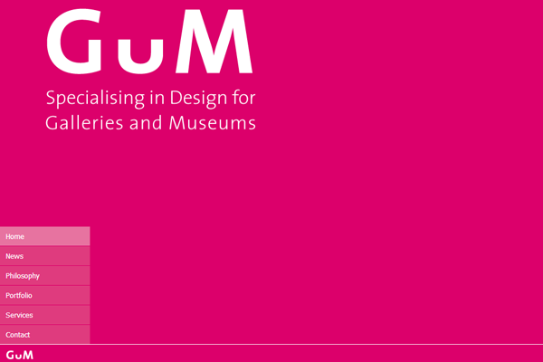 Minimalist Web Design - Gum United Kingdom Studios Exhibition Museum designs