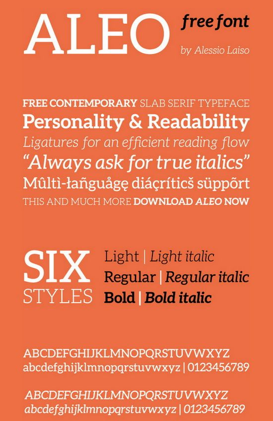 Aleo free font by Alessio Laiso