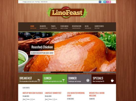 Awesome Restaurant Themes Wordpress PSD HTML Templates Ginva - Restaurant template wordpress
