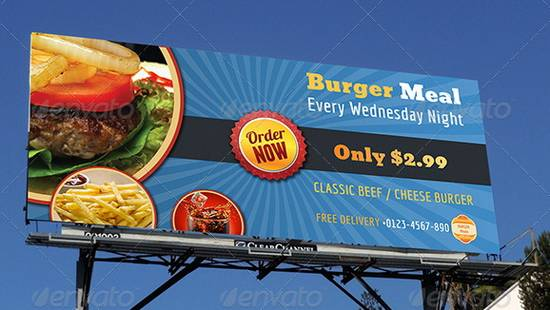 Burger Restaurant Billboard Template