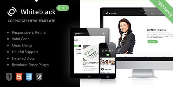 WhiteBlack Premium corporate template HTML5 Template