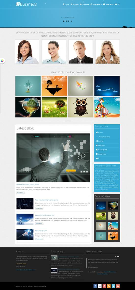 Free responsive business portfolio joomla template ginva flashek Image collections