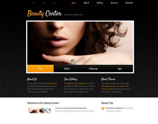 Free Beauty Center web Template